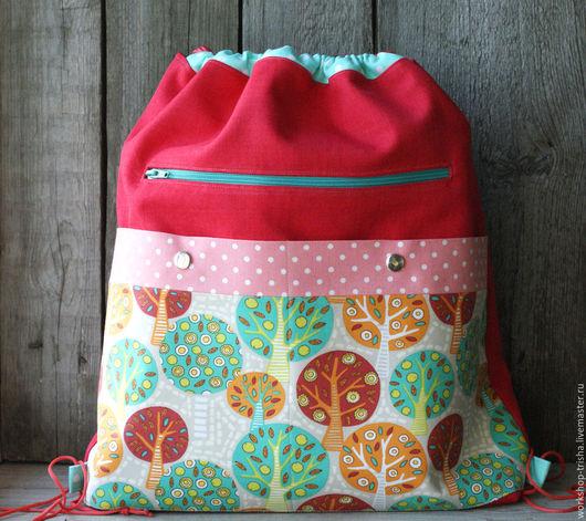 Рюкзаки ручной работы. Ярмарка Мастеров - ручная работа. Купить Школьный рюкзак для сменной обуви. Handmade. Ярко-красный
