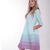 Одежда ручной работы. Ярмарка Мастеров - ручная работа Платье из льна мятно-лавандовое. Handmade.