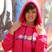 Одежда handmade. Livemaster - original item Pink hoodie for women, bright hoodie with a fluffy hood. Handmade.