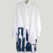"""Одежда ручной работы. Ярмарка Мастеров - ручная работа Платье рубашка """"Город"""", расписанная вручную. Handmade."""