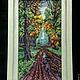 Пейзаж ручной работы. Ярмарка Мастеров - ручная работа. Купить Гобелен из бисера ДОРОГА В ЛЕСУ. Handmade. Разноцветный, осень