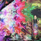 """Материалы для творчества handmade. Livemaster - original item Шифон-атлас Roberto Cavalli """"Северное сияние"""" итальянские ткани. Handmade."""