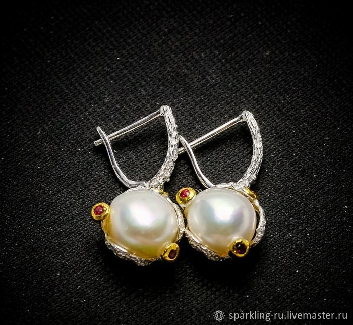Large silver earrings with natural pearls, Earrings, Moscow,  Фото №1
