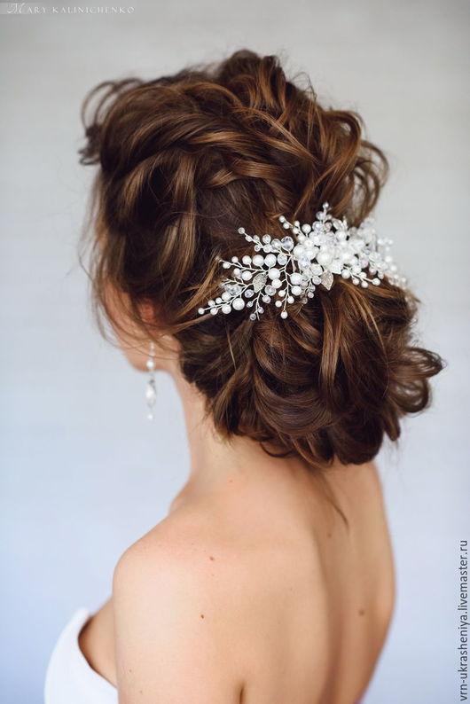Свадебные украшения ручной работы. Ярмарка Мастеров - ручная работа. Купить Большое белое украшение для свадебной прически. Handmade. Белый