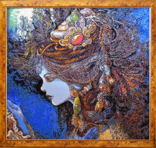 КАРТИНА ВЫШИТА БИСЕРОМ ПО АВТОРСКОМУ НАБОРУ ДЛЯ ВЫШИВАНИЯ ` РУСАЛКА` ТМ Александра Токарева
