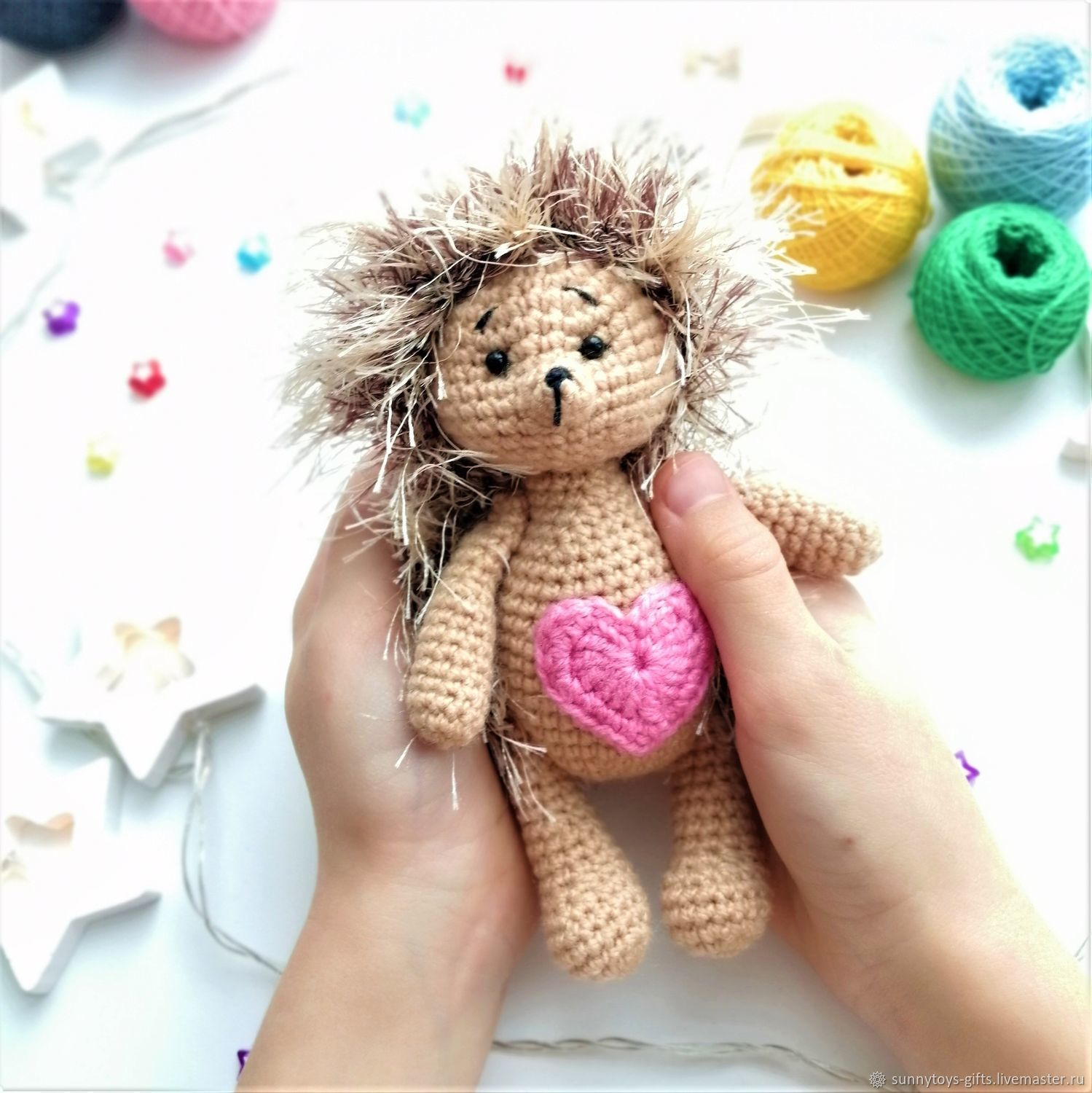 hedgehog Soft toy knitted hedgehog with hearts, Stuffed Toys, Berezovsky,  Фото №1