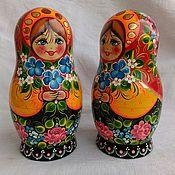 Русский стиль handmade. Livemaster - original item Matryoshka Blue bouquet, 5 seats, hand-painted.. Handmade.