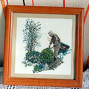 Картины и панно ручной работы. Ярмарка Мастеров - ручная работа Джентльмены, вышитые картины в раме, конь, сад, подарок мужчине, другу. Handmade.