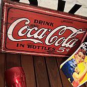 Дизайн и реклама ручной работы. Ярмарка Мастеров - ручная работа Панно Coca-Cola ретро. Handmade.