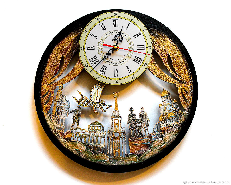 Yekaterinburg city clock, original wall clock made of wood, Watch, St. Petersburg,  Фото №1