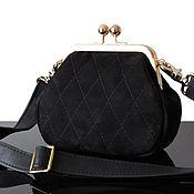 Сумки и аксессуары handmade. Livemaster - original item Handbag with clasp black suede, quilted handbag. Handmade.