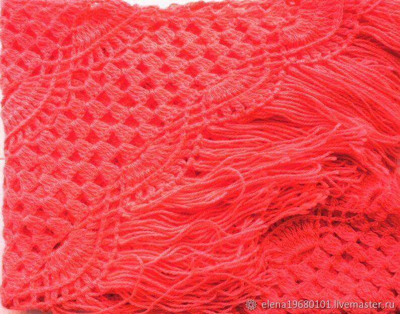 SANDRA Crocheted Shawl 210*110 cm Triangular with Tassels #010, Shawls, Nalchik,  Фото №1