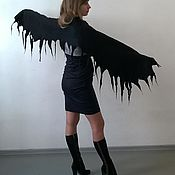 Аксессуары handmade. Livemaster - original item Tippet felted. Black tippet. Stole wings. Handmade.