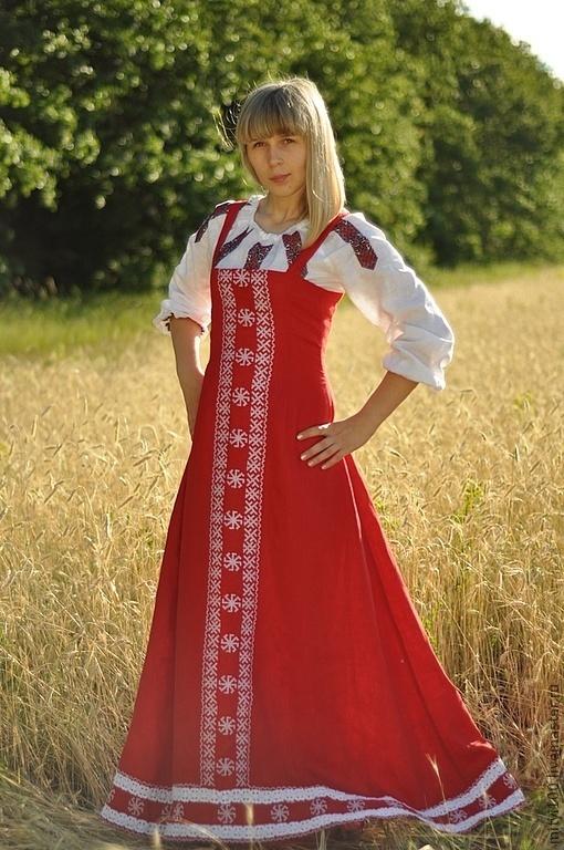 Одежда ручной работы. Ярмарка Мастеров - ручная работа. Купить Русский Сарафан. Handmade. Ярко-красный, славянский оберег