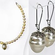 Jewelry Sets handmade. Livemaster - original item Set of earrings and necklace made of sea pearls (handmade). Handmade.