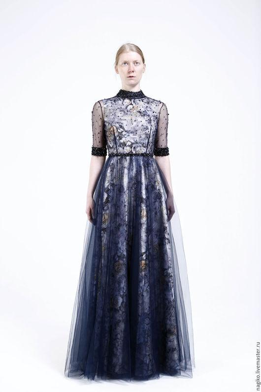 """Платья ручной работы. Ярмарка Мастеров - ручная работа. Купить Вечернее платье """"Сапфир"""". Handmade. Тёмно-синий, платье"""