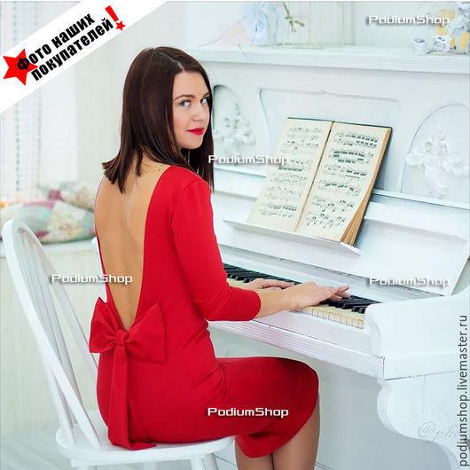 Красное платье короткое с бантом