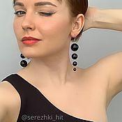 handmade. Livemaster - original item Earrings black author`s long hanging different black. Handmade.