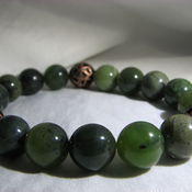 "Украшения handmade. Livemaster - original item Bracelet with jade and copper beads ""Game"". Handmade."
