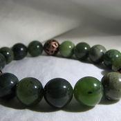 """Bead bracelet handmade. Livemaster - original item Bracelet with jade and copper beads """"Game"""". Handmade."""