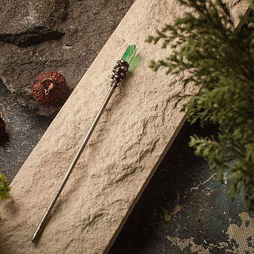 Украшения ручной работы. Ярмарка Мастеров - ручная работа Палочки для волос с зелёным тонированным горным хрусталем.. Handmade.