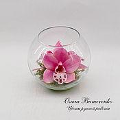 Цветы и флористика ручной работы. Ярмарка Мастеров - ручная работа Композиция из орхидей  цимбидиум в вазочке. Handmade.