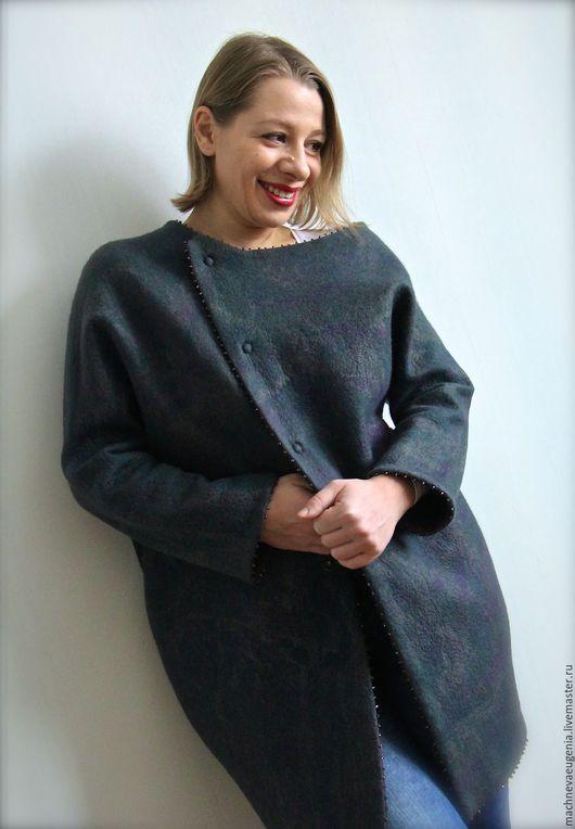 Авторское пальто кокон ручной работы, из натуральной шерсти и шелка. Ярмарка  Мастеров. Мачнева Евгения(sladuniya)