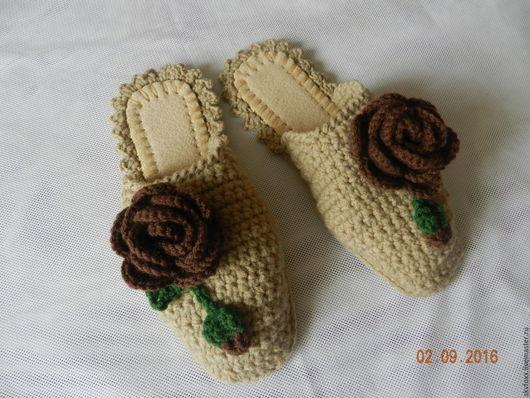 """Обувь ручной работы. Ярмарка Мастеров - ручная работа. Купить """"Карамельнае Розы"""" тапочки (39-40 р-р) (подошва валяная). Handmade."""