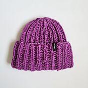 Аксессуары handmade. Livemaster - original item Stylish knitted warm winter hat basic beanie with a collar gift. Handmade.