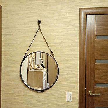Для дома и интерьера ручной работы. Ярмарка Мастеров - ручная работа Круглое зеркало на ремне. Handmade.