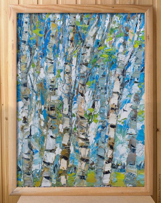 Картина маслом весна пейзаж береза Первые листочки Весенний пейзаж маслом Русский пейзаж картина Картина весна масло Яркая картина в подарок Березы береза картина
