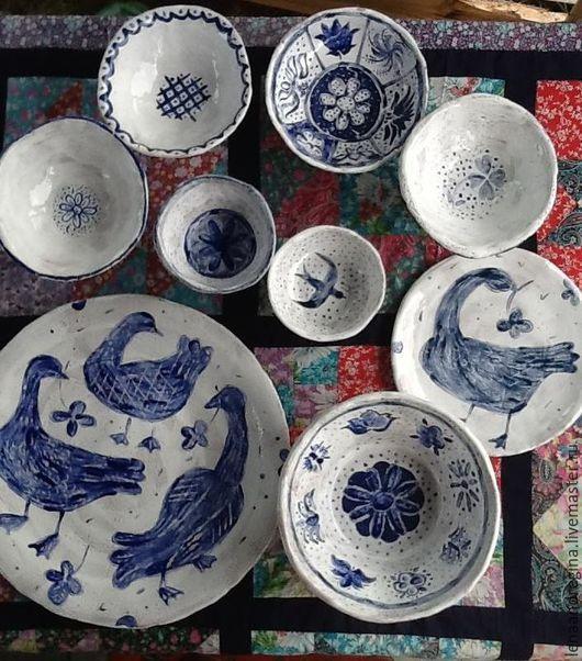 Салатники ручной работы. Ярмарка Мастеров - ручная работа. Купить набор посуды В городе Тарусе петухи и гуси. Handmade.
