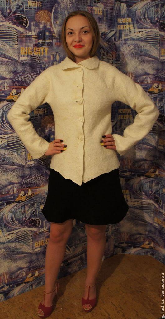 Пиджаки, жакеты ручной работы. Ярмарка Мастеров - ручная работа. Купить Жакет валяный Белый. Handmade. Жакет, женский жакет