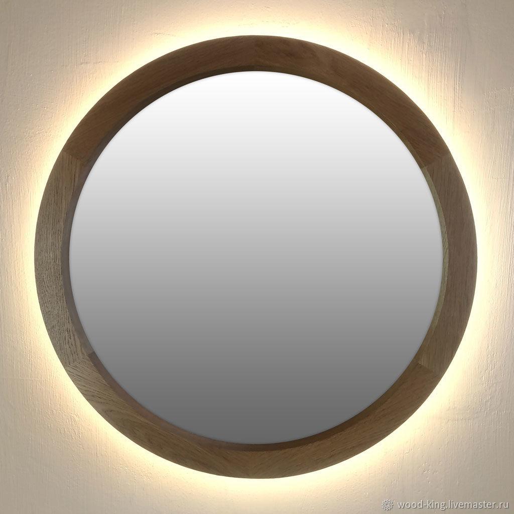 Круглое дубовое зеркало с подсветкой – заказать на Ярмарке Мастеров – IFSNRRU | Зеркала, Москва