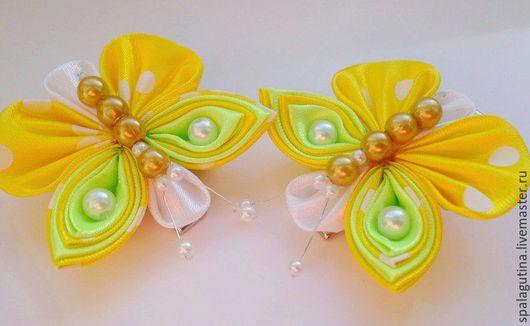 """Заколки ручной работы. Ярмарка Мастеров - ручная работа. Купить Зажимы """"Бабочки"""". Handmade. Желтый, бабочка из ткани, канзаши"""