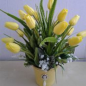 Цветы и флористика handmade. Livemaster - original item Decorative composition Yellow tulips. Handmade.