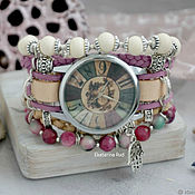 Украшения handmade. Livemaster - original item Beige watch with natural stones