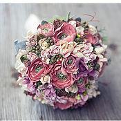 Свадебный салон ручной работы. Ярмарка Мастеров - ручная работа Свадебный букет невесты из полимерной глины в пудровой гамме.. Handmade.