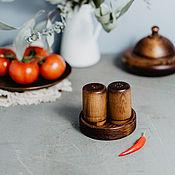 Для дома и интерьера handmade. Livemaster - original item Wooden Salt and pepper shakers with stand Set of Siberian Cedar #SP5. Handmade.