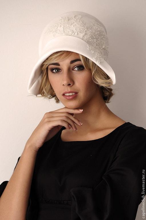 Шляпы ручной работы. Ярмарка Мастеров - ручная работа. Купить Велюровая шляпка для свадьбы. Handmade. Белый, чешский велюр