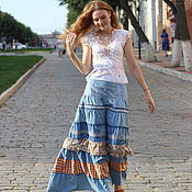 Одежда ручной работы. Ярмарка Мастеров - ручная работа Длинная джинсовая юбка Зарница. Handmade.