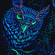 Psychedelic forest painting 'Mystic Owl'. Pictures. Fractalika. My Livemaster. Фото №5