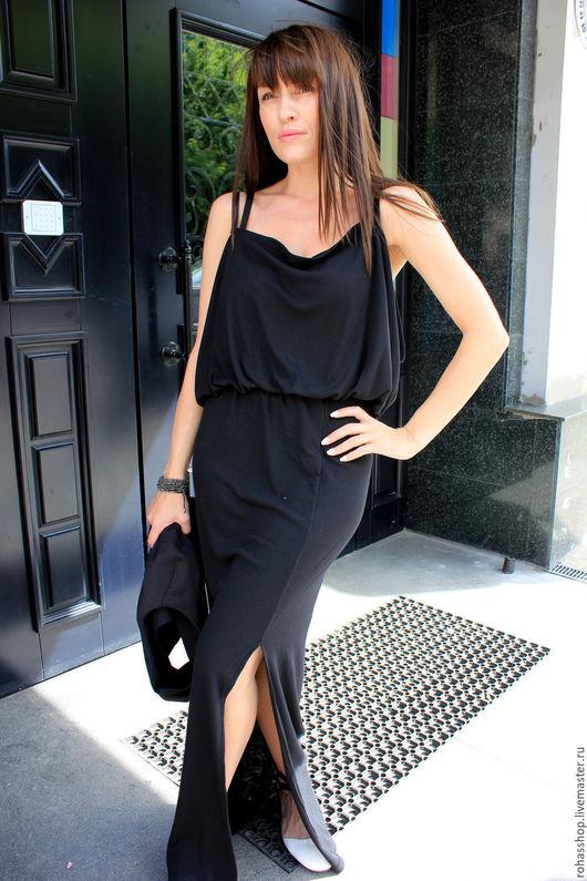 R00078 Длинное макси платье в черном цвете. Платье трикотажное в пол для лета. Платье на лямочках длинное . Вечернее платье длинное . Платье на выход длинное в пол черного цвета