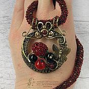 Украшения handmade. Livemaster - original item Necklace pendant from the Berry Summer series on a beaded cord.. Handmade.