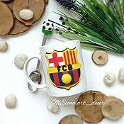 Кружки ручной работы. Ярмарка Мастеров - ручная работа Набор кружка и ложка с декором Барселона логотип футбольного клуба. Handmade.