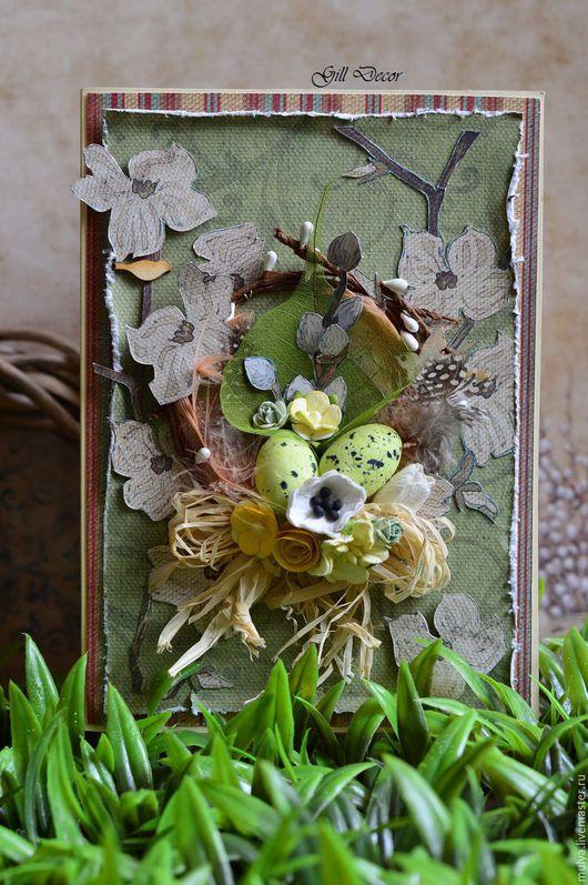 Подарки на Пасху ручной работы. Ярмарка Мастеров - ручная работа. Купить Открытка весенняя. Handmade. Зеленый, пасхальное яйцо, верба