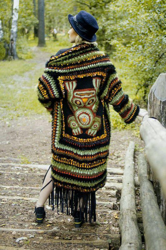 """Этническая одежда ручной работы. Ярмарка Мастеров - ручная работа. Купить Удлиненный кардиган """"Тотем"""", из авторской коллекции  """" Песня шамана"""". Handmade."""