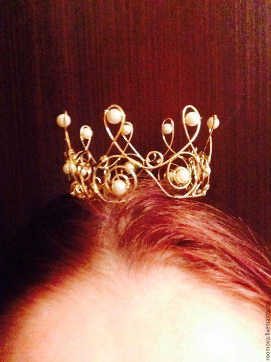 Свадебные украшения ручной работы. Ярмарка Мастеров - ручная работа. Купить корона диадема из латуни. Handmade. Золотой, корона для фотосессии