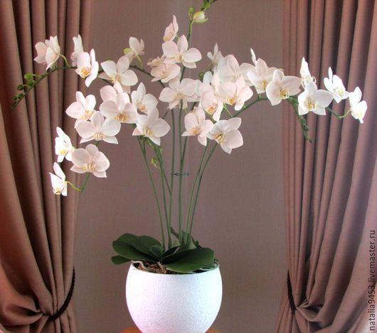 Цветы ручной работы. Ярмарка Мастеров - ручная работа. Купить Белая орхидея в горшке. Handmade. Белый, полимерная глина