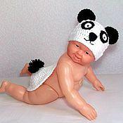 Работы для детей, ручной работы. Ярмарка Мастеров - ручная работа Комплект для фотосессий Панда (костюм для новорожденных шапочка мишка). Handmade.